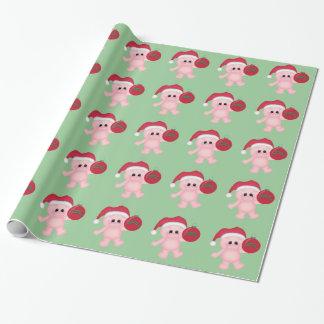 Papier Cadeau Papier d'emballage de vacances porcines de Noël