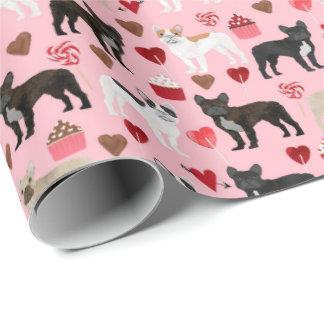 Papier Cadeau Papier d'emballage de Valentines de bouledogue
