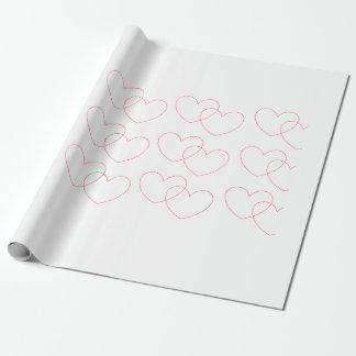 Papier Cadeau Papier d'emballage de verrouillage rouge de coeurs