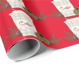 Papier Cadeau Papier d'emballage de verts de café et de Noël