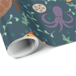Papier Cadeau Papier d'emballage de vie marine