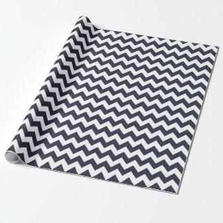 Papier Cadeau Papier d'emballage de zigzag bleu classique de