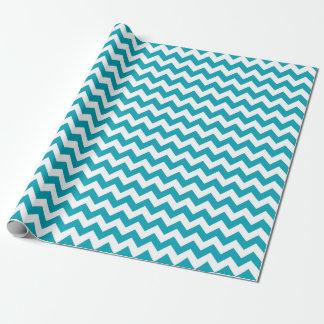 Papier Cadeau Papier d'emballage de zigzag bleu de Chevron