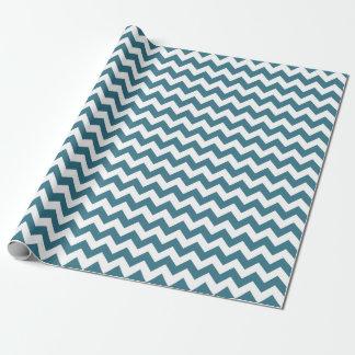Papier Cadeau Papier d'emballage de zigzag bleu turquoise de