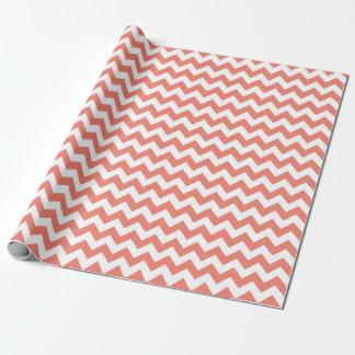 Papier Cadeau Papier d'emballage de zigzag de corail de Chevron