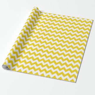 Papier Cadeau Papier d'emballage de zigzag jaune citron de