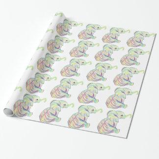 Papier Cadeau Papier d'emballage d'éléphant en pastel adorable