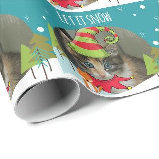 Papier Cadeau Papier d'emballage d'Elf de Noël adorable de