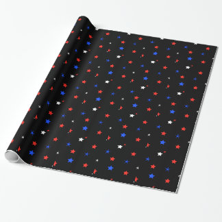 Papier Cadeau Papier d'emballage d'étoiles patriotiques simples