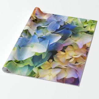 Papier Cadeau Papier d'emballage d'hortensia multicolore mol
