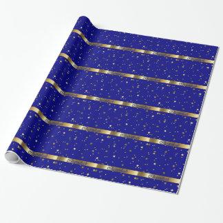 Papier Cadeau Papier d'emballage d'or bleu de Chanukah