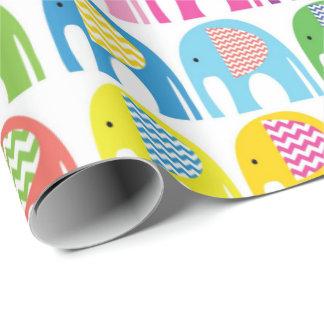 Papier Cadeau Papier d'emballage - éléphants colorés multi