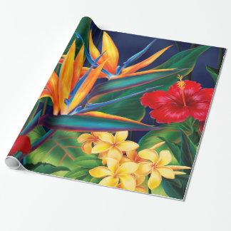 Papier Cadeau Papier d'emballage floral hawaïen de paradis