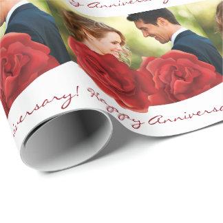 Papier Cadeau Papier d'emballage heureux de roses rouges de