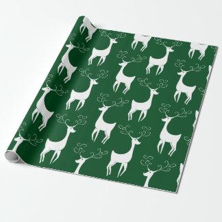 Papier Cadeau Papier d'emballage mat de renne vert de Noël