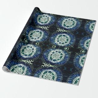 Papier Cadeau Papier d'emballage mat, mandala bleu blanc