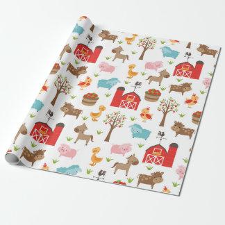 Papier Cadeau Papier d'emballage mignon d'animaux de grange et