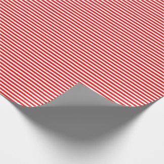 Papier Cadeau Papier d'emballage mince de rayures rouges et