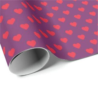 Papier Cadeau Papier d'emballage modelé par coeurs minuscules