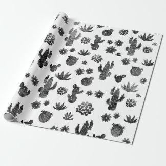 Papier Cadeau Papier d'emballage noir et blanc de cactus
