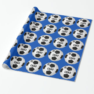 Papier Cadeau Papier d'emballage personnalisé du football votre