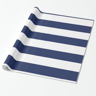 Papier Cadeau Papier d'emballage rayé bleu et blanc nautique