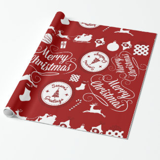 Papier Cadeau Papier d'emballage rouge de fête de Joyeux Noël de