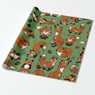 Papier Cadeau Papier d'emballage rouge de Fox - choisissez la