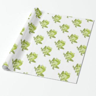 Papier Cadeau Papier d'emballage sautant vert heureux de