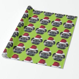 Papier Cadeau Papier d'emballage vert de carlin de Noël