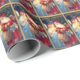 Papier Cadeau Papier d'emballage vintage de Père Noël et d'ange