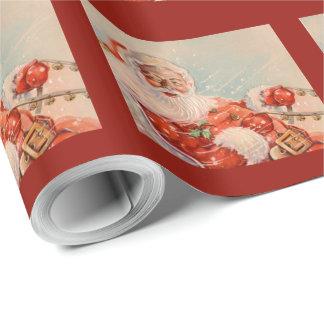 Papier Cadeau Papier d'emballage vintage de tour de Santa Sleigh