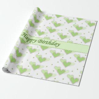 Papier Cadeau Papier d'enveloppe de coeurs de vert de menthe de