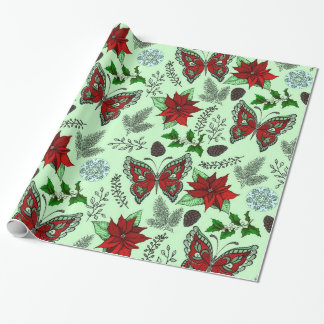 Papier Cadeau Papier d'enveloppe de houx de poinsettia de