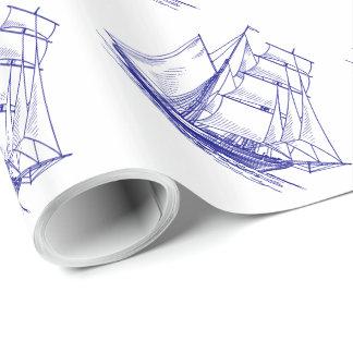 Papier Cadeau Papier nautique bleu d'emballage cadeau de bateau