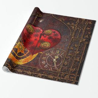 Papier Cadeau Papier peint vintage de coeurs de Steampunk