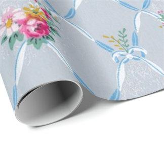 Papier Cadeau Papier peint vintage floral de rose de rubans