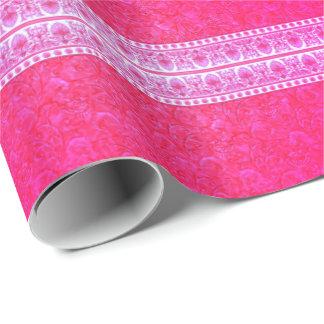 Papier Cadeau Papier rayé rose lumineux de fantaisie d'emballage