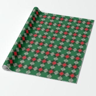 Papier Cadeau Papier vert, rouge, et par blanc modelé de Noël