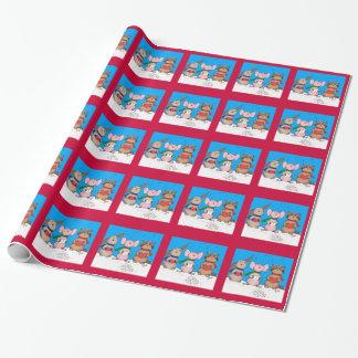 Papier Cadeau Papiers d'emballage d'animaux de Noël