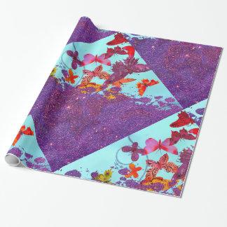 Papier Cadeau Papillons lumineux colorés et scintillement