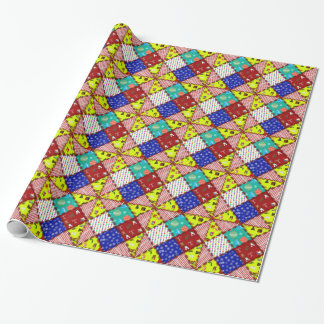 Papier Cadeau Patchwork coloré de Noël