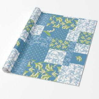 Papier Cadeau Patchwork Giftwrap de Faux : Le muguet, bleu