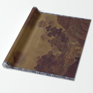 Papier Cadeau Paysage de Sesshu Toyo de quatre saisons - automne