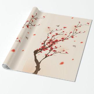 Papier Cadeau Peinture asiatique de style, fleur de prune au