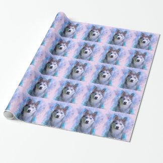 Papier Cadeau Peinture d'art de couleur d'eau de chien de chien