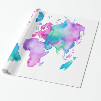 Papier Cadeau Peinture lumineuse d'aquarelle de globe de carte