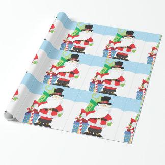 Papier Cadeau père Noël dans le tophat par la pile de presentts