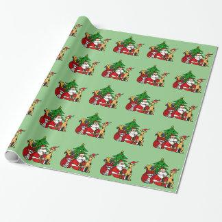 Papier Cadeau Père Noël drôle et art de Noël de chiots