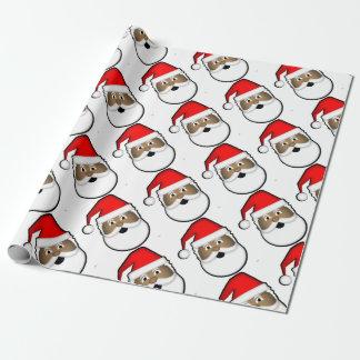 Papier Cadeau Père Noël noir gai
